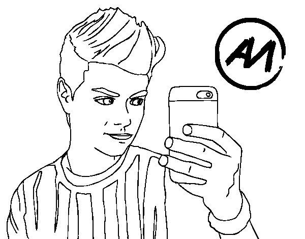 Disegno di Abraham Mateo selfie da Colorare