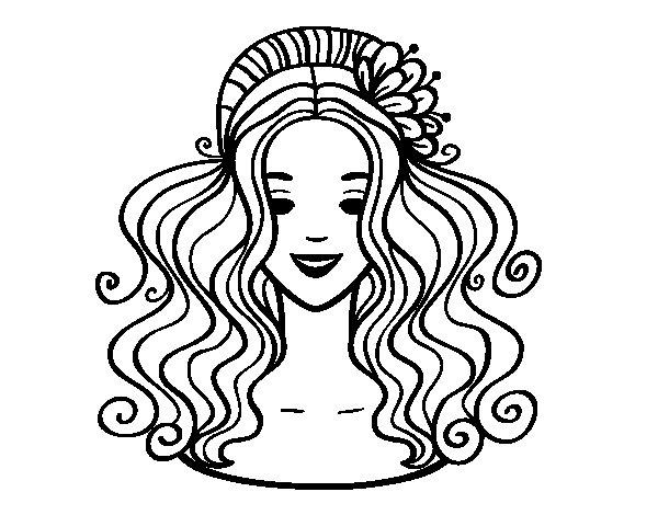 Disegno Fiori Da Colorare Con Google Disegno Di Un Fiore: Disegno Di Acconciatura Con Il Fiore Da Colorare