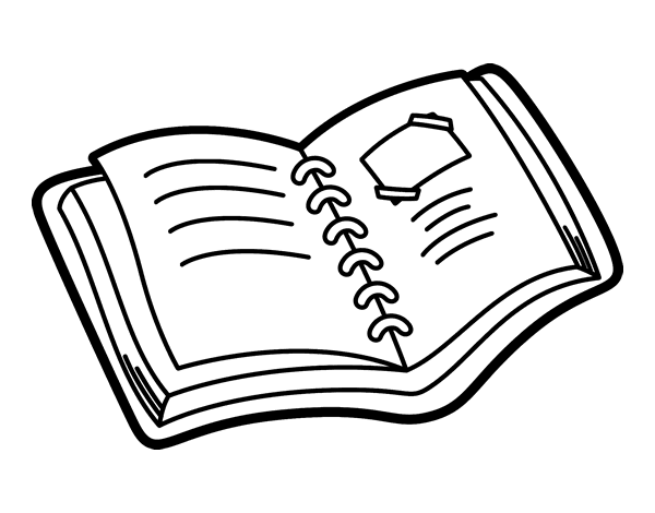 Dibujos Para Colorear De Libro Y Libreta: Disegno Di Album Scuola Da Colorare