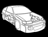 Disegno di Auto con fiamme da colorare