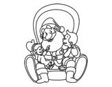 Disegno di Babbo Natale con i bambini da colorare