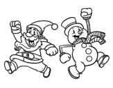 Disegno di Babbo Natale e il pupazzo di neve di salto da colorare