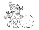 Disegno di Bambina con grande palla di neve da colorare