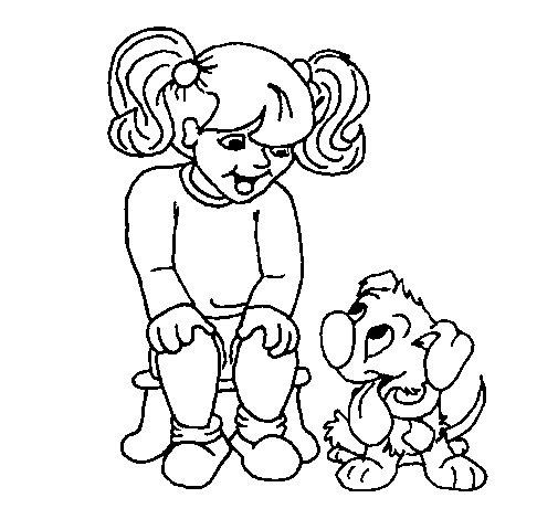 disegni da colorare bambina con cane