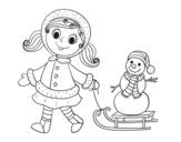 Disegno di Bambina con la slitta e il pupazzo di neve da colorare