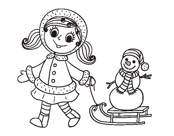Disegno di bambina con la slitta e il pupazzo di neve da for Disfare la valigia in inglese