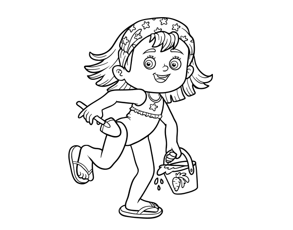Disegno di bambina con la spiaggia secchiello e paletta da for Disfare la valigia in inglese