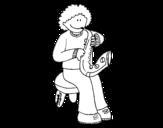 Disegno di Bambina con tromba da colorare