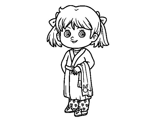 Disegno di bambina in pigiami da colorare for Disegno bambina da colorare