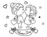 Disegno di Bambini di San Valentino da colorare