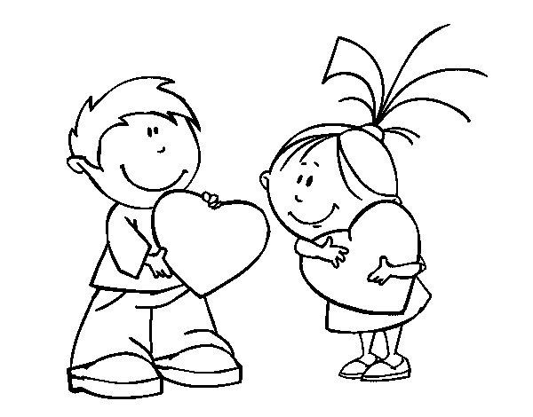 Disegno di bambini in san valentino da colorare for Link di san valentino da condividere