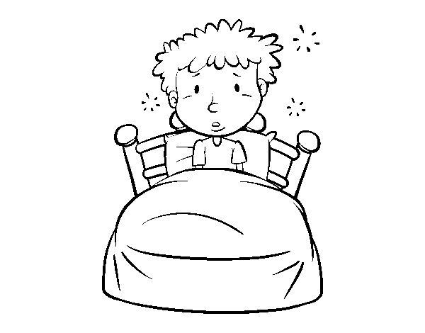 Preferenza Disegno di Bambino a letto da Colorare - Acolore.com XA06