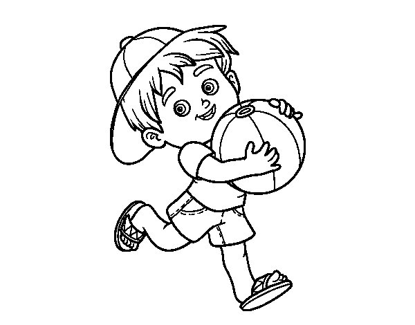 spesso Disegno di Bambino che gioca con pallone da spiaggia da Colorare  KV02