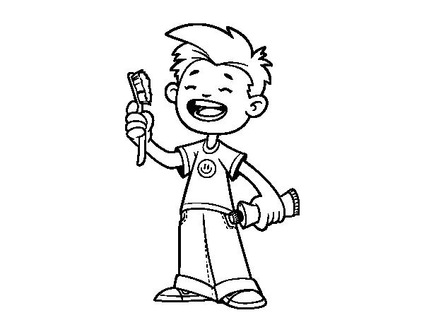 Disegno di bambino con spazzolino da colorare for Disfare la valigia in inglese