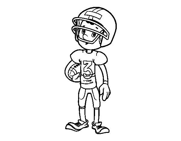 Disegno di Bambino giocatore di rugby da Colorare