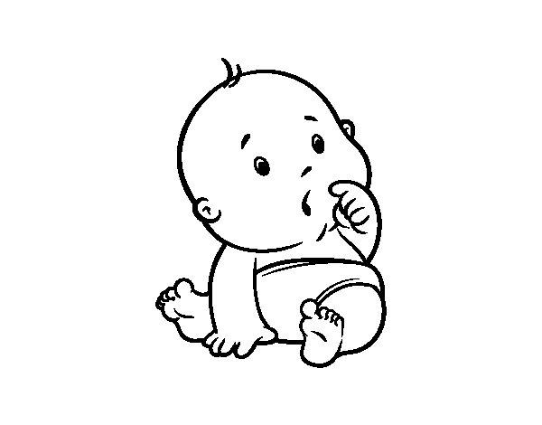 Immagine Bimbo Da Colorare: Disegno Di Bambino Sorpreso Da Colorare