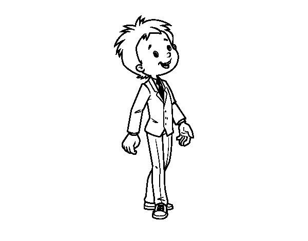 Disegno di Bambino vestito in tuta da Colorare