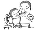 Disegno di Barbecue con papà da colorare