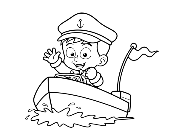 Disegno di barca e capitano da colorare for Disfare la valigia in inglese
