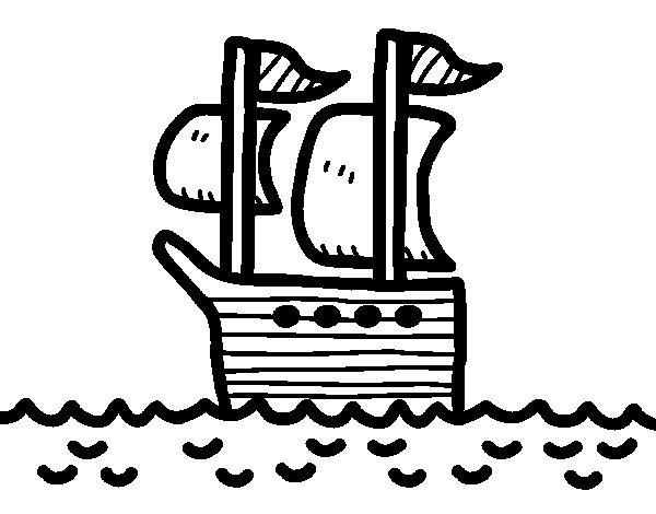 Disegno di Barca in alto mare da Colorare