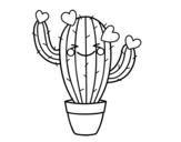 Disegno di Cactus cuore da colorare