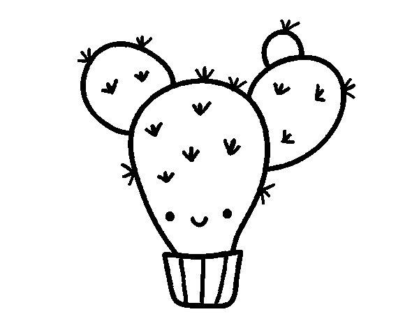 Disegno di Cactus ficodindia da Colorare