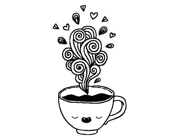 Disegno di caff kawaii da colorare for Disfare la valigia in inglese