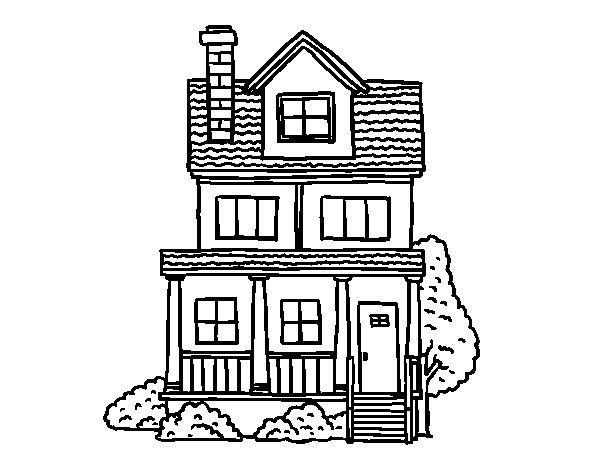 Disegno di casa a due piani con mansarda da colorare for Piani casa americana