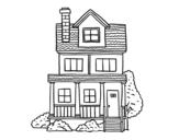 Disegno di Casa a due piani con mansarda da colorare