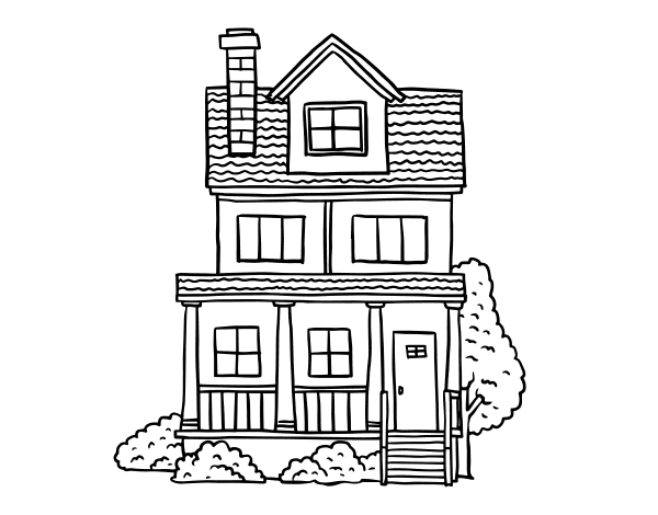 Disegno di casa a due piani con mansarda da colorare for Piani di casa tropicale con cortili
