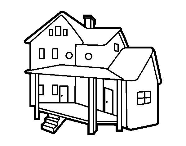 Disegno di casa con portico da colorare for Piccola casa con avvolgente portico