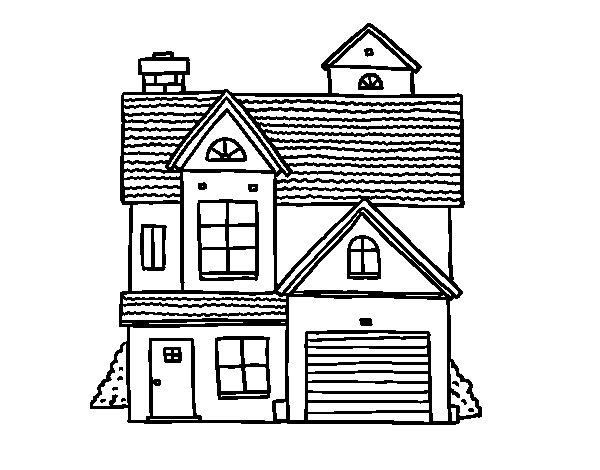 Disegno di Casa di famiglia americana da Colorare