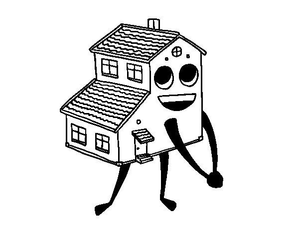 Disegno di Casa sorridente da Colorare