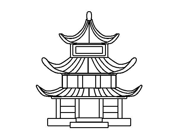 Disegno di casa tradizionale giapponesa da colorare for Casa giapponese tradizionale