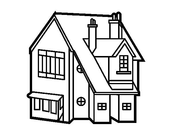 Disegno di casa unifamiliare da colorare for Disegni e prezzi della casa