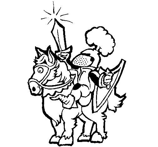 Disegno di Cavaliere che impugna la spada  da Colorare