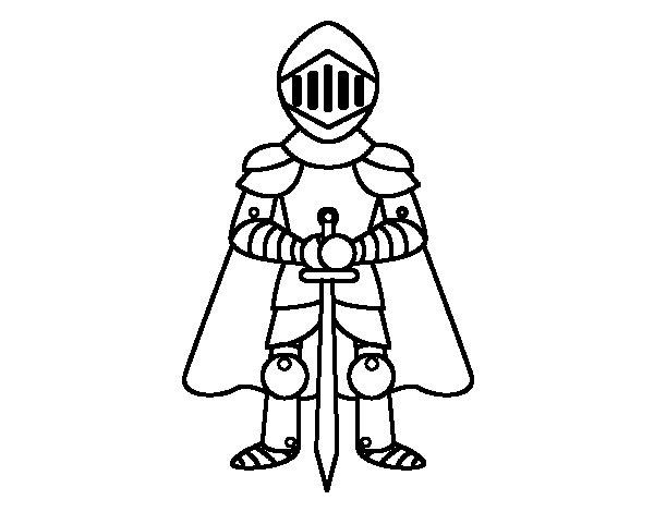 Disegno di Cavaliere con cappa da Colorare