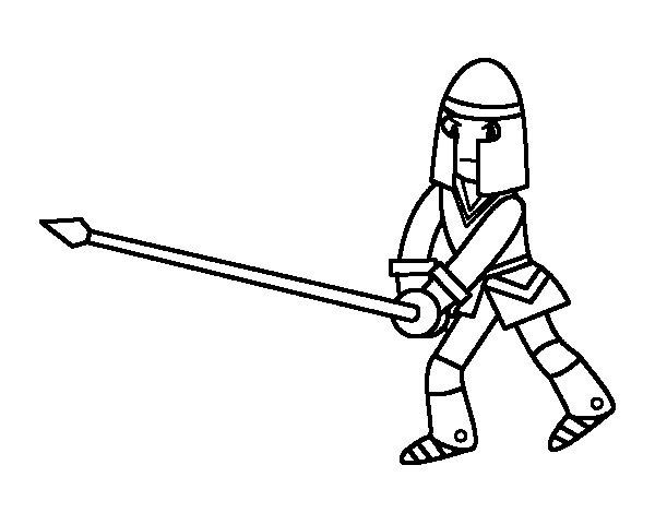 Disegno di Cavaliere con lancia da Colorare