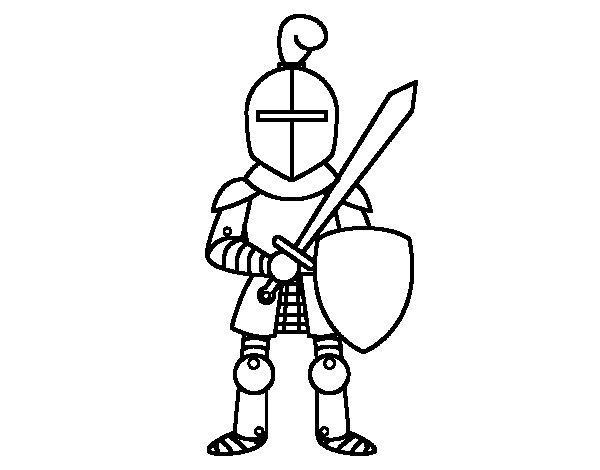 Disegno di Cavaliere con spada e scudo da Colorare