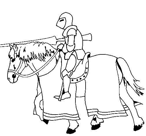 Disegno di Cavallerizzo in piena lotta  da Colorare