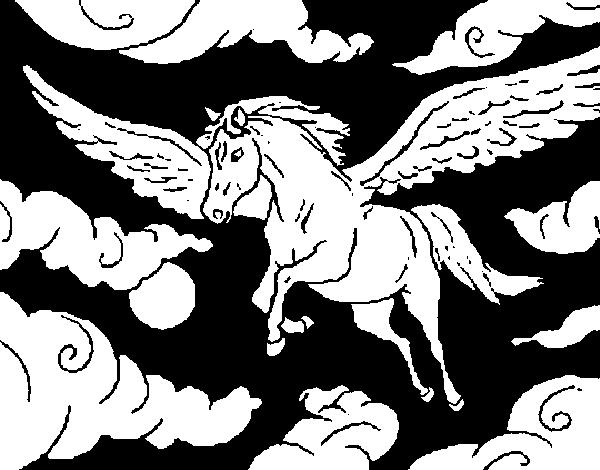 disegno di cavalli alati da colorare
