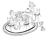 Disegno di Cena in famiglia da colorare