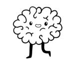 Disegno di Cervello kawaii da colorare