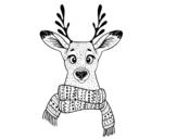 Disegno di Cervo con sciarpa da colorare