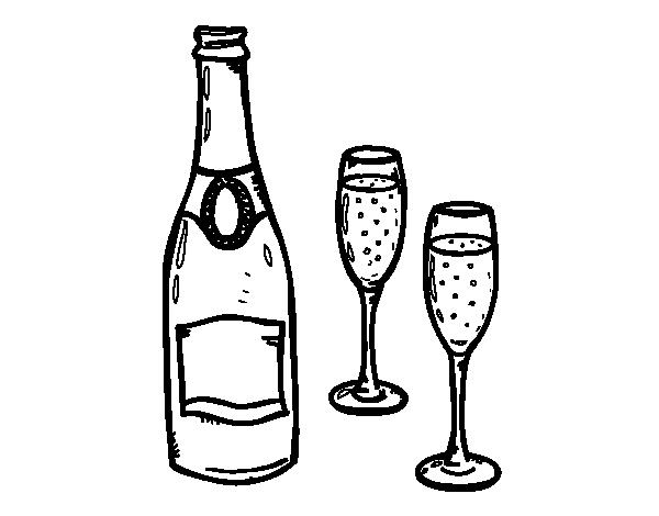 Disegno Di Champagne E Bicchieri Da Colorare