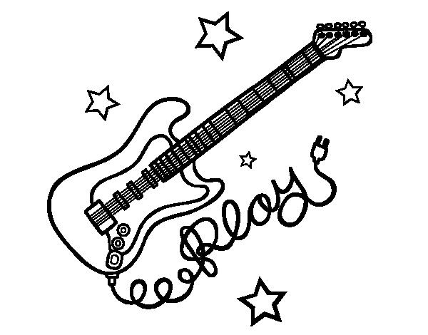 Disegno di chitarra e stelle da colorare - Pagina da colorare per chitarra ...