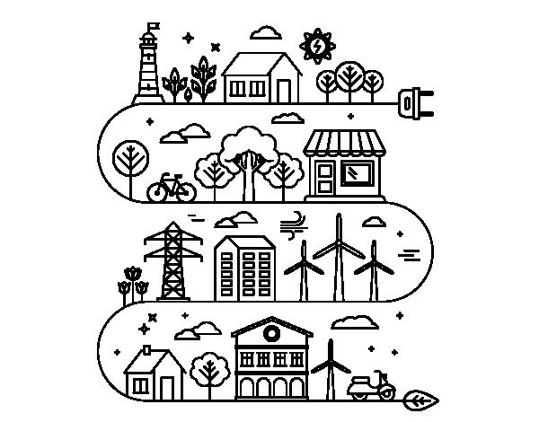 Disegno di citt ecologica da colorare for Disfare la valigia in inglese