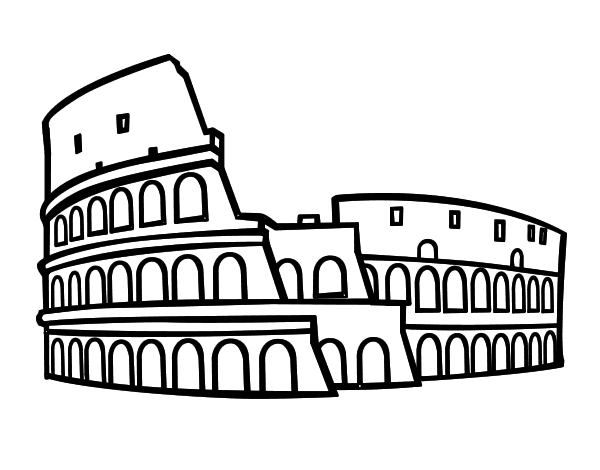disegno di colosseo romano da colorare