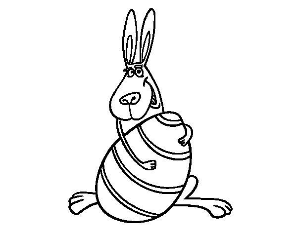 Disegno di Coniglio abbracciare un uovo da Colorare