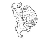 Disegno di Coniglio con enorme uovo di Pasqua da colorare